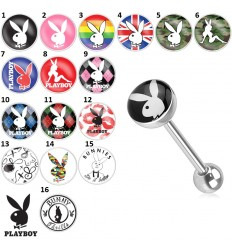 Tungepiercing med Playboy Logo