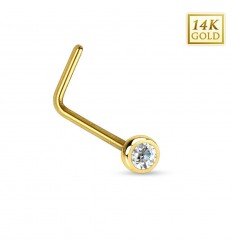 Næsepiercing af 14 Karat Guld med Lille Klar Sten