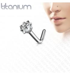 Næsepiercing i Titanium med Firkantet Sten