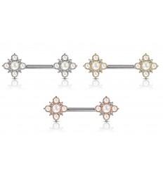 Brystpiercing med Perler og Blomst