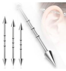 Industrial Piercing med Spikes og 3 sirkler