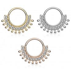 Piercing Ring med Krystal Vifte og Små Kugler