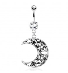 Navlepiercing med halvmåne med keltisk knute
